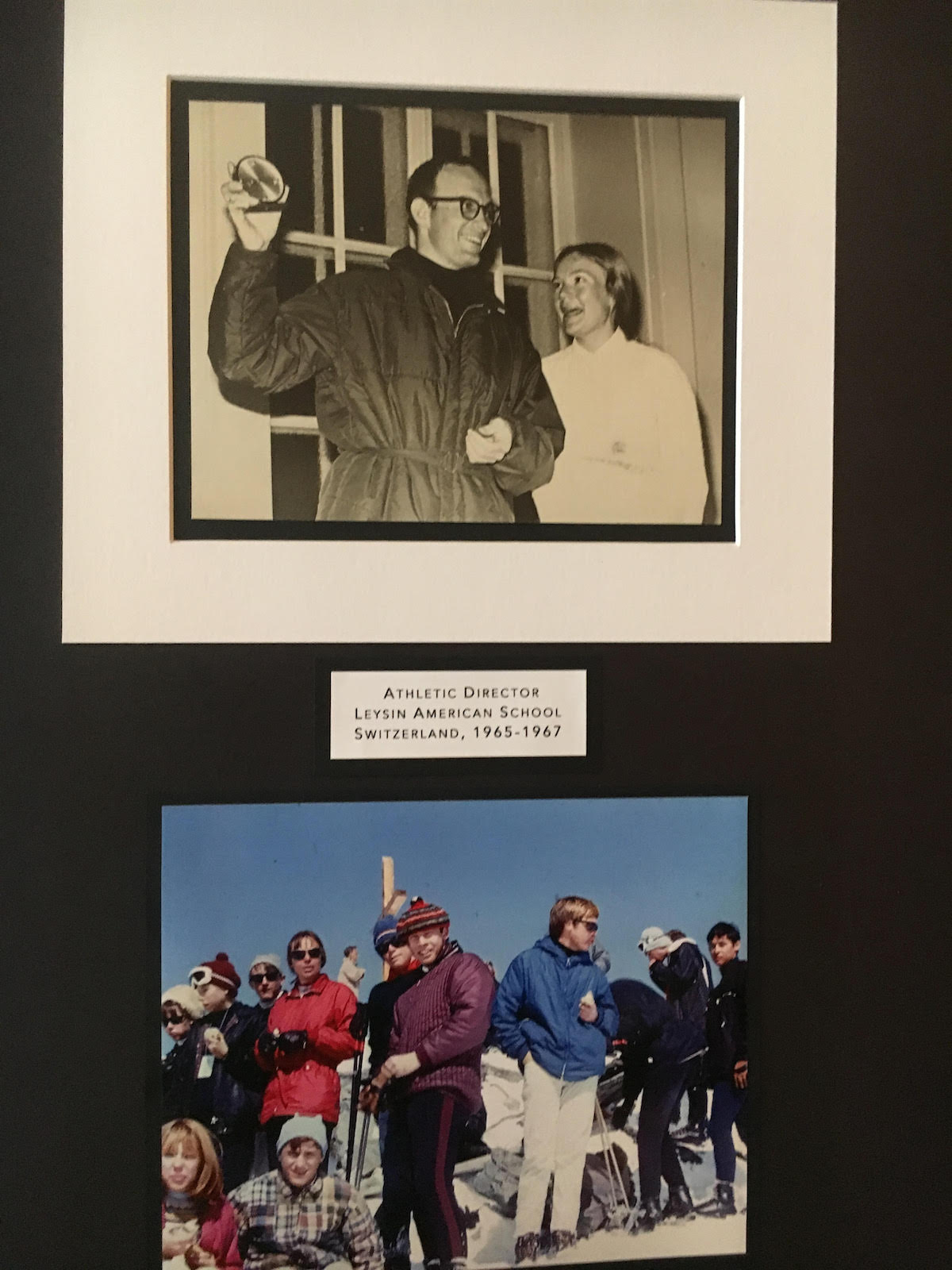 Photos on display at the memorial included these images from Royal and Liz Robbins' time at the Leysin American School in Switzerland where Royal served as the athletic director from 1965 to 1967. [Photo] Derek Franz