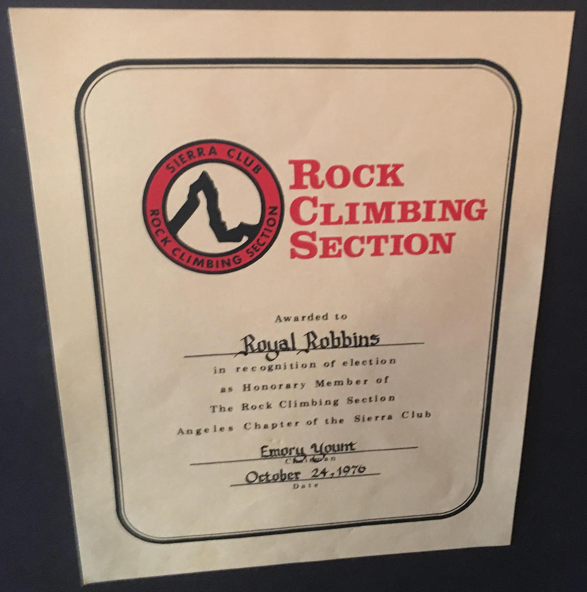 A certificate of honorary membership to the Rock Climbing Section of the Sierra Club, awarded in 1976. [Photo] Derek Franz