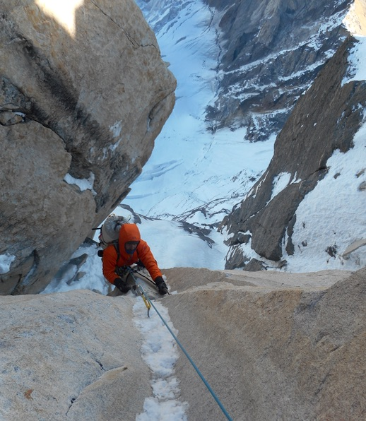 The ice runnel crux near the top of the route. [Photo] Alan Rousseau