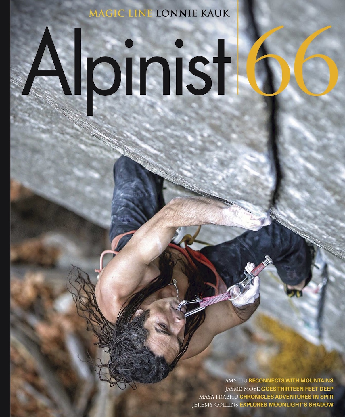 The cover of Alpinist 66 features Lonnie Kauk climbing Magic Line (5.14c) in Yosemite Valley. The story is on the long list for Best Mountaineering Article in the Banff Mountain Book Competition. 13 Feet Under by Jayme Moye is from the same issue and is also on the Banff longlist in the same category. [Photo] Jim Thornburg