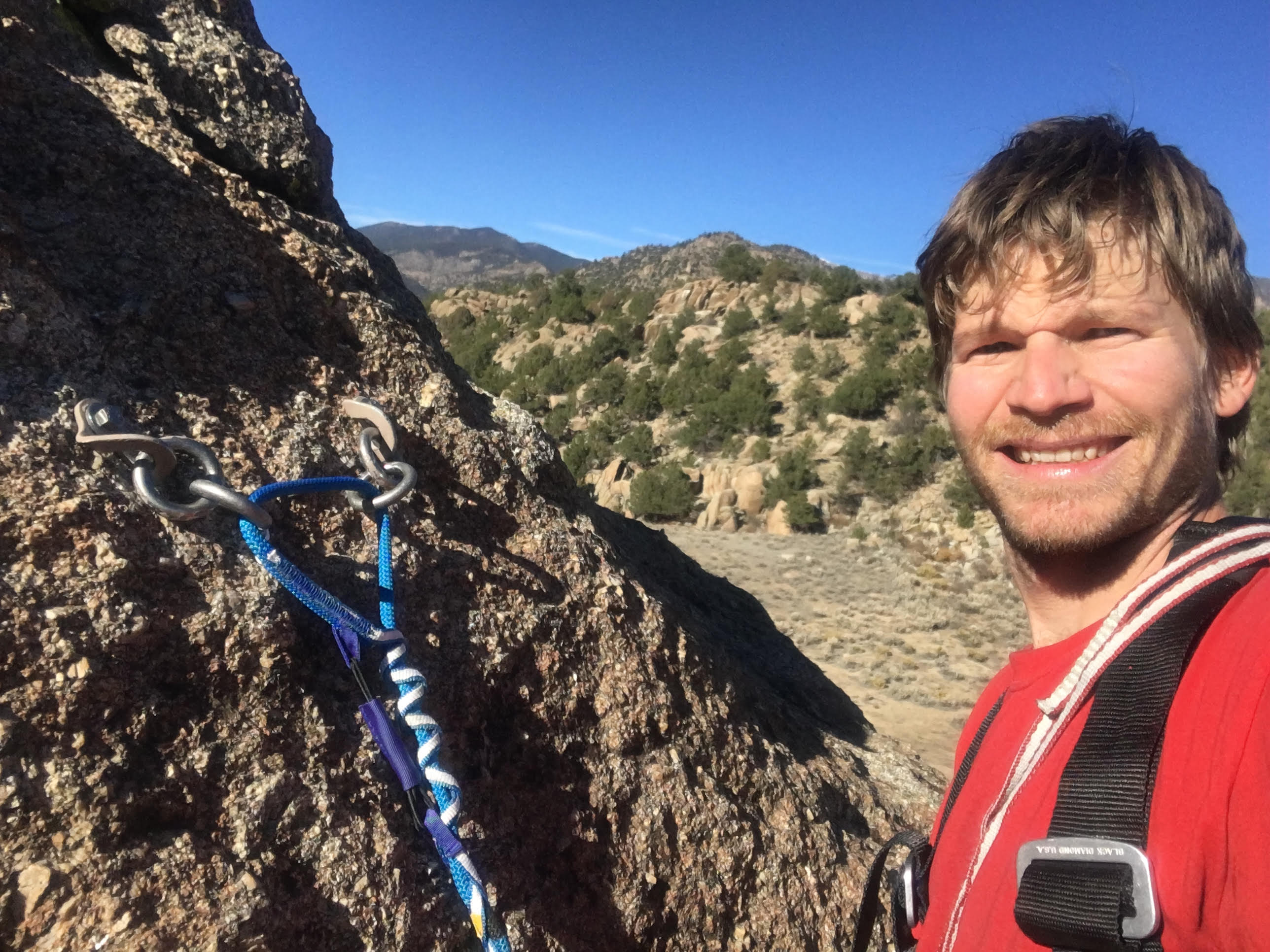 The author preparing to trust his life to the Beal Escaper for the first time on top of Elephant Rock in Buena Vista. [Photo] Derek Franz