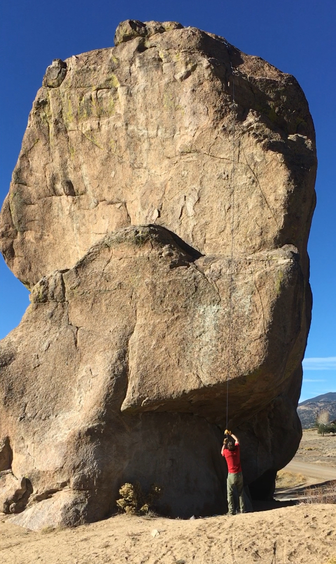 Derek Franz discovering just how much effort it can take to activate the Beal Escaper after a short rappel from the top of Elephant Rock. [Photo] Mandi Franz