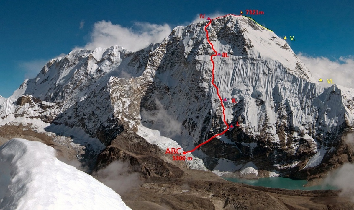 The northwest face of Chamlang (7321m) with the line of UFO (ABO M6, WI5, 2500m) marked in red. [Photo] Zdenek Hak and Marek Holecek collection