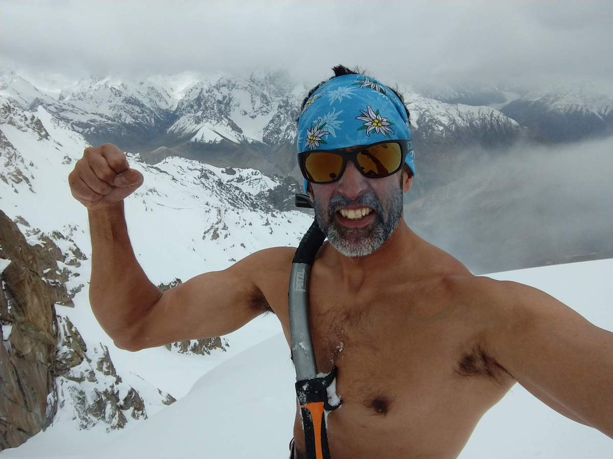 Shirtless selfie: It's sort of my thing for the last eight years: sky-clad summits and descents, Gangulee said. [Photo] Tico Gangulee