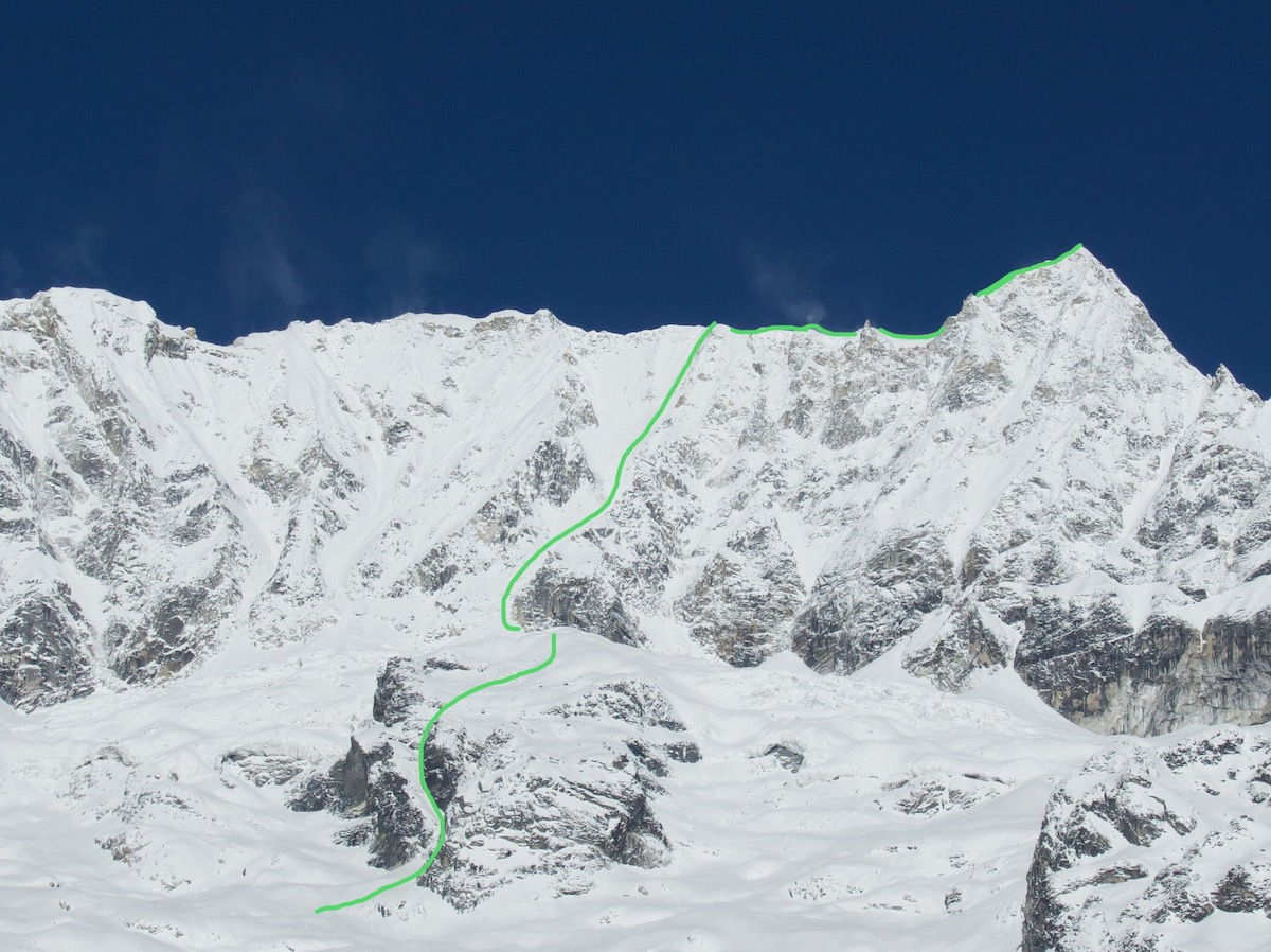 Seto Hi'um (TD: M4 WI4 1150m) on the south face of Chhopa Bamare (6109m) as seen from base camp. [Photo] Benjamin Billet
