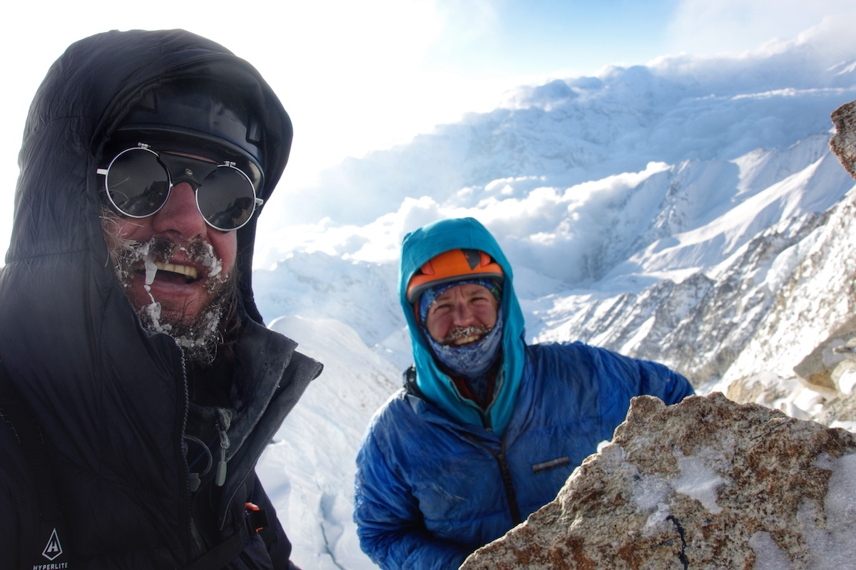 Benjamin Billet, left, and Kelley on the summit. [Photo] Benjamin Billet