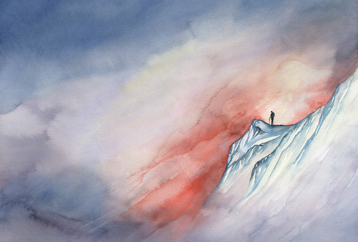 Doubt / Resilience. Watercolor on paper. North Cascades, Washington. [Artwork] Claire Giordano