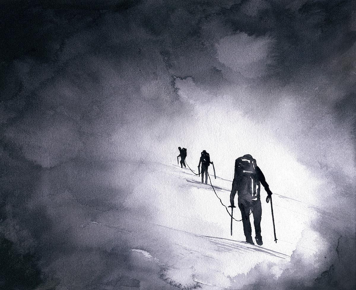 Seeking. Watercolor on paper. Mt. Baker (10,780'), North Cascades. [Artwork] Claire Giordano