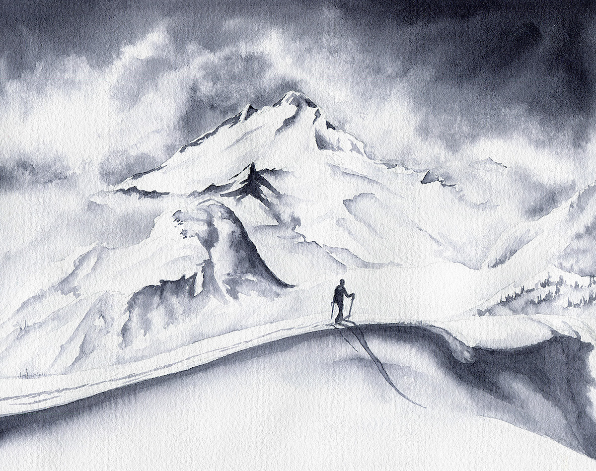 A Mountain Presence. Watercolor on paper. Mt. Baker. [Artwork] Claire Giordano