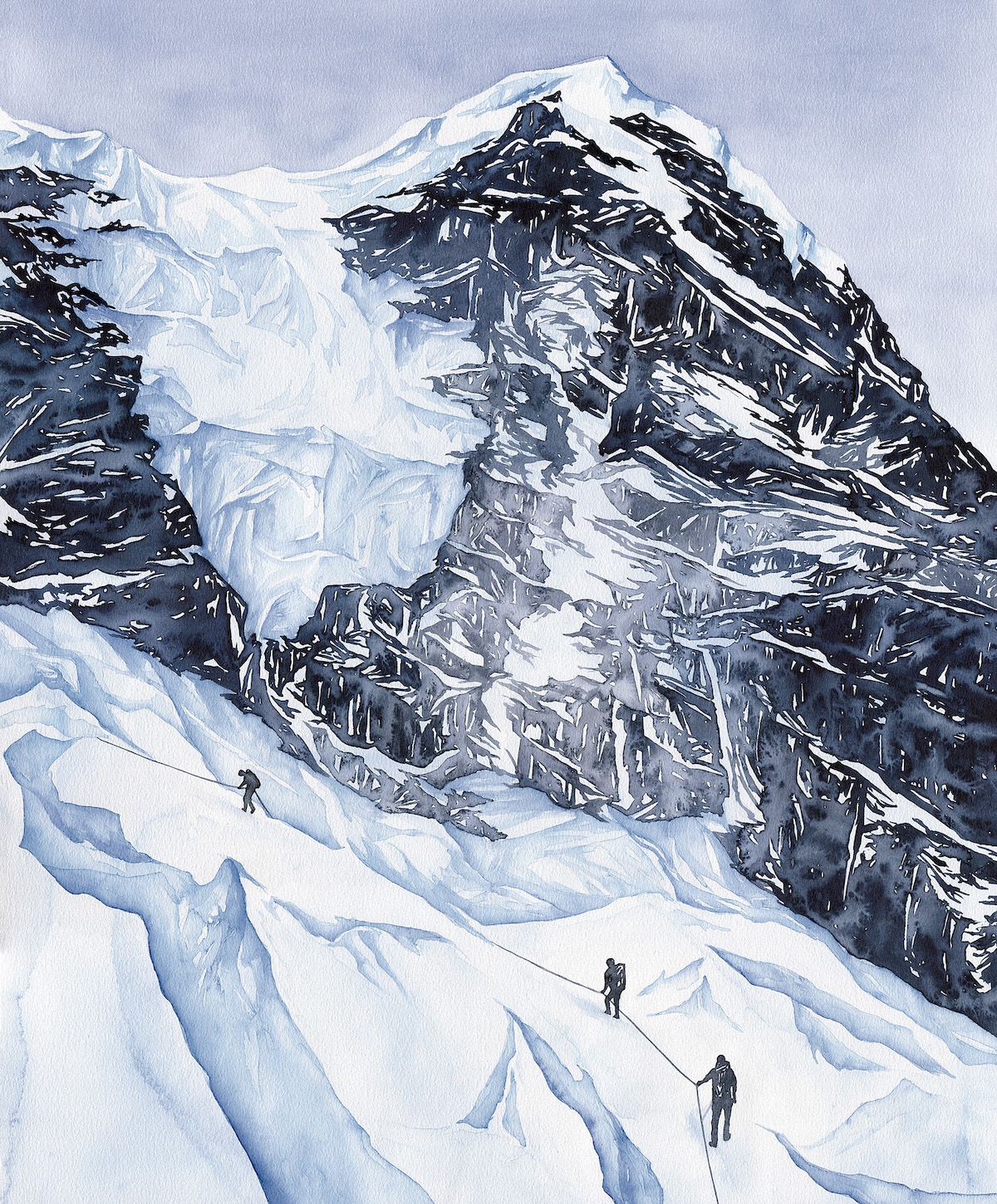 Lifelines. Watercolor on paper. Khumbu Icefall, Nepal Himalaya. [Artwork] Claire Giordano