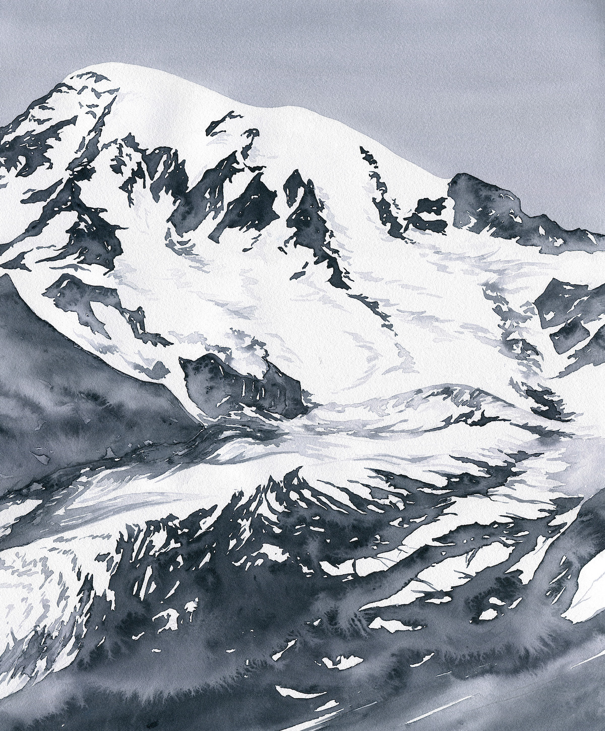 [1 of 2] Mt. Rainier, 1890 vs. 2018. The artist recounts: These paintings illustrate the recession of the Nisqually Glacier from 1890 to 2018. The 1890 painting is based on an image found in a photographic analysis by Fred Veatch. According to geomorphologist Paul Kennard, the Nisqually Glacier is losing up to a quarter mile of length each year. [Artwork] Claire Giordano