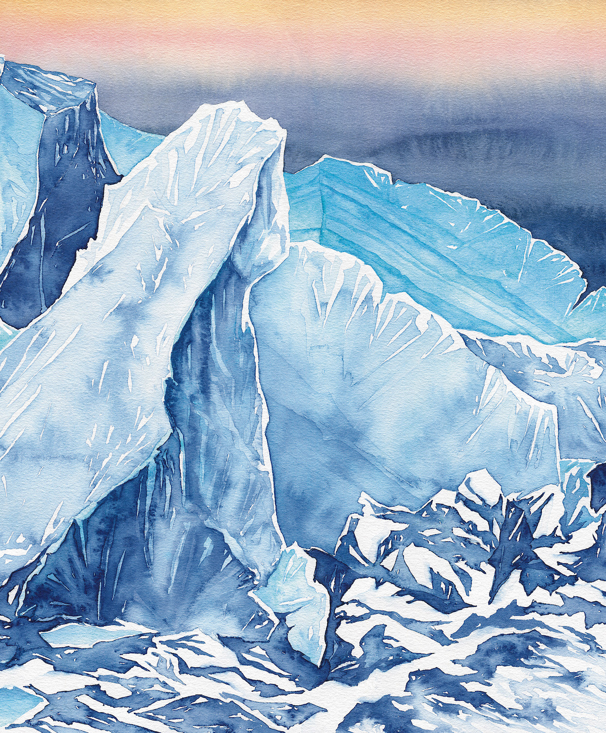 Icefall. Ingraham Glacier, Mt. Rainier (14,410'), Cascades, Washington. The artist would like to thank Dallas Glass, Jason Hummel and Casey Sullivan for sharing reference imagery for some of the paintings in the essay. [Artwork] Claire Giordano