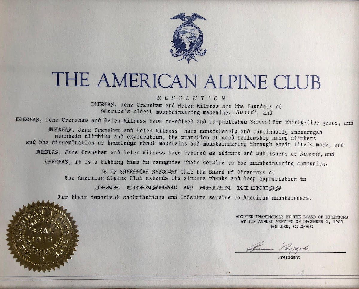 The American Alpine Club recognized Crenshaw and Kilness for their important contributions and lifetime service to American mountaineers in 1989. [Photo] Courtesy of Paula Crenshaw