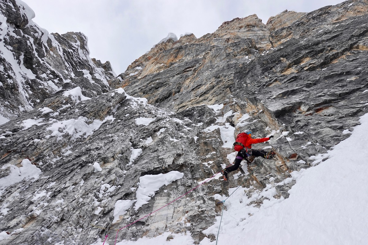 Harrington leads off the bivy. [Photo] Courtesy of Ines Papert, Luka Lindic and Brette Harrington