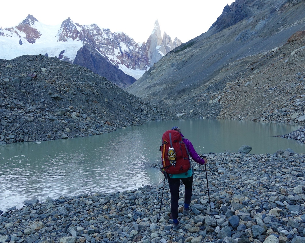 Whitney Clark treks to the Torre Valley in Patagonia with the Mystery Ranch Scepter 50 backpack. [Photo] Rhiannon Klee