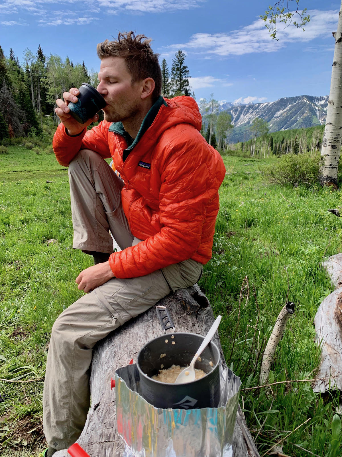 Derek Franz enjoying coffee and oatmeal made with the Sea to Summit Alpha Pot Cookset during a backpack trip in western Colorado last June. [Photo] Mandi Franz