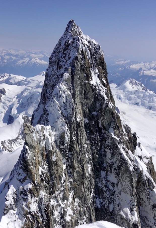 The 200-meter-high summit tower of Mt. Waddington. [Photo] Simon Richardson