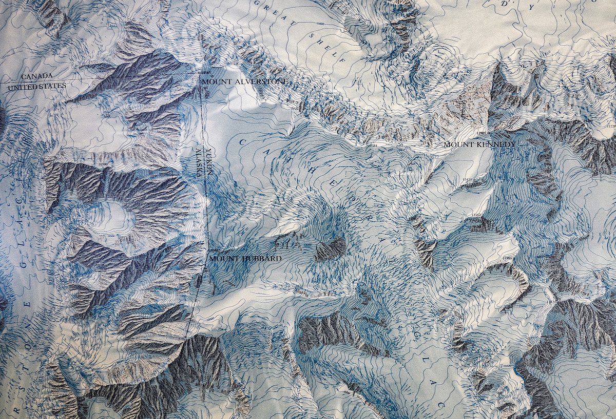 The 1968 National Geographic Society map of the massif of Mt. Hubbard, Mt. Alverstone and Mt. Kennedy, directed by Bradford Washburn. [Image] NG Image Collection