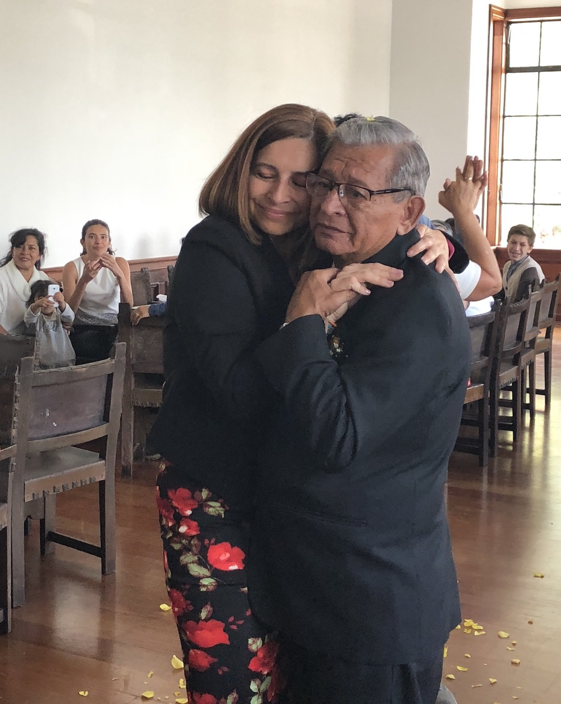The author dances with her father on his wedding day, February 2, 2018, in Zipaquira, Colombia. [Photo] Ana Beatriz Cholo collection