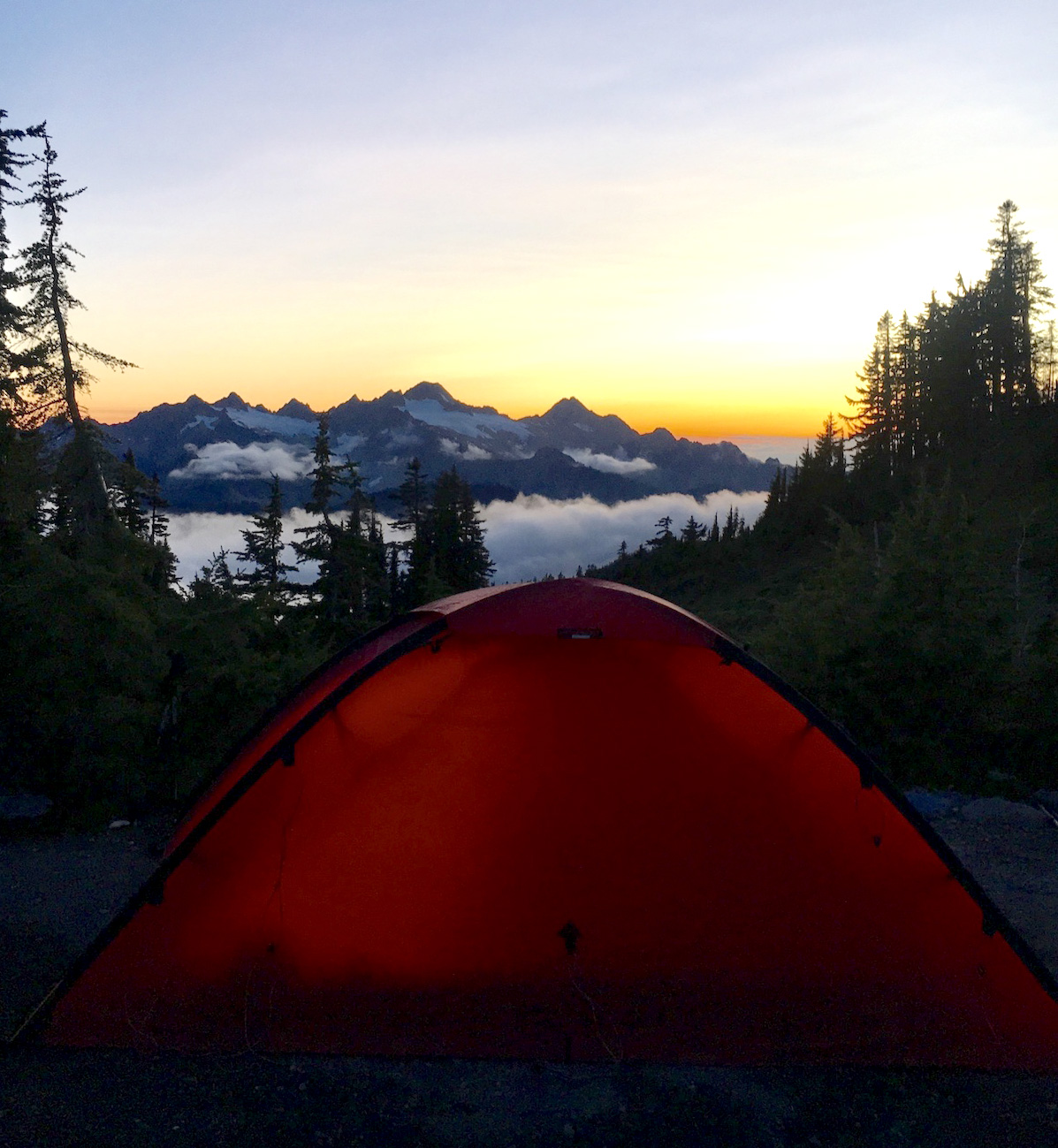 A sunset view of the North Cascades in Washington from the author's tent, September 2017. [Photo] Ana Beatriz Cholo collection