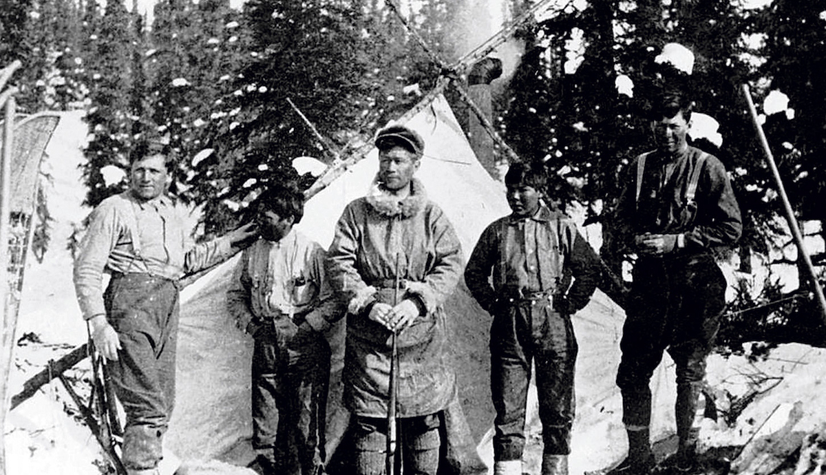 Robert Tatum, George Esaias, Harry Karstens, John Fredson and Walter Harper during the 1913 first ascent of Denali. [Photo] Hudson Stuck