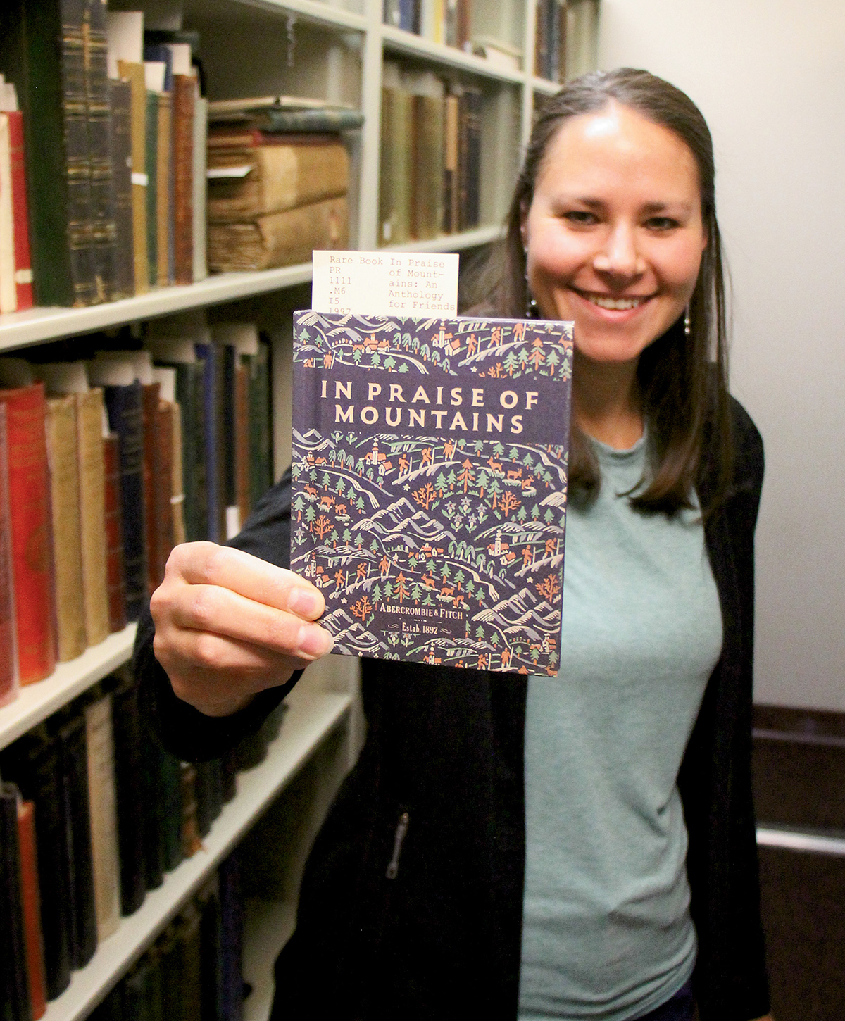 Katie Sauter in the Henry S. Hall Jr. American Alpine Club Library, Golden, Colorado. [Photo] Laura Sauter
