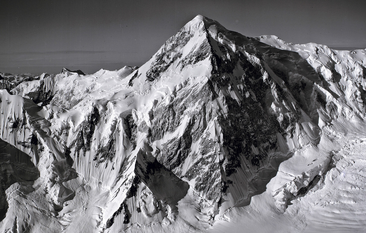 The North Ridge of Mt. Kennedy as seen from a flight over the St. Elias Range in 1966. [Photo] Bradford Washburn, Bradford Washburn collection, Rasmuson Library, UAF