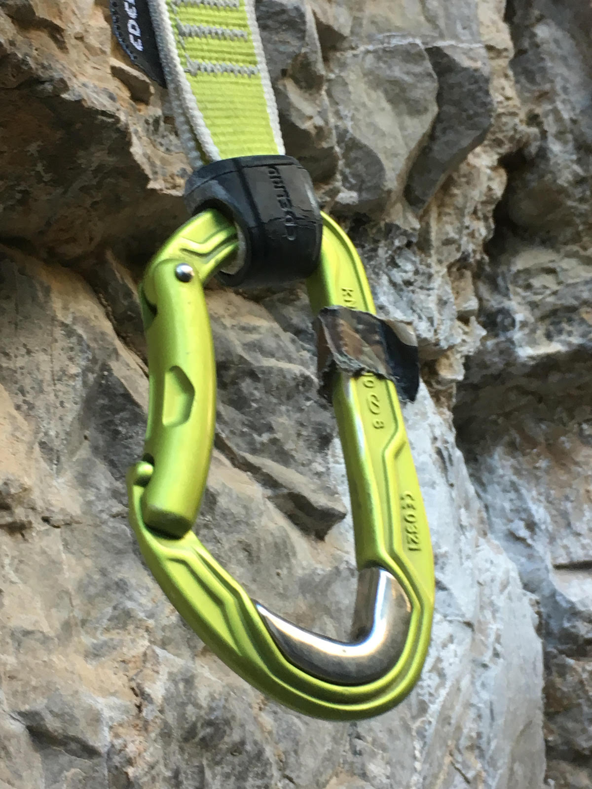 This Edelrid Bulletproof quickdraw hung from the first bolt—a high-wear zone for carabiners—on one of the most popular routes in Rifle for several months and it hardly showed any sign of wear afterward. The regular aluminum carabiner that previously occupied this spot was severely grooved within a matter of weeks. [Photo] Derek Franz