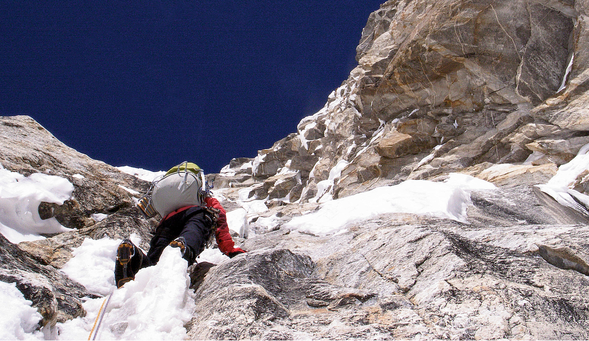 Taniguchi on Kamet (7756m), Garhwal Himalaya, India. [Photo] Kazuya Hiraide