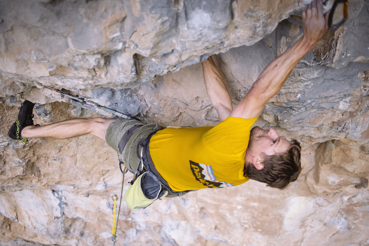 The author linking moves on Magnetar (5.13d) at Rifle Mountain Park, Colorado, last May. [Photo] Karissa Frye