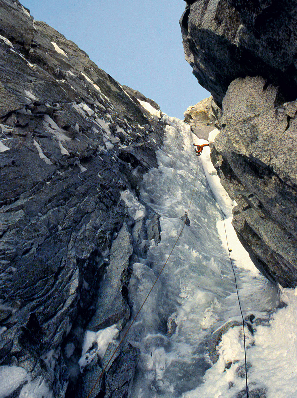 Barry Blanchard climbs in the long ice portion of the Wilford Couloir (5.9 M4 WI5). [Photo] Mark Wilford