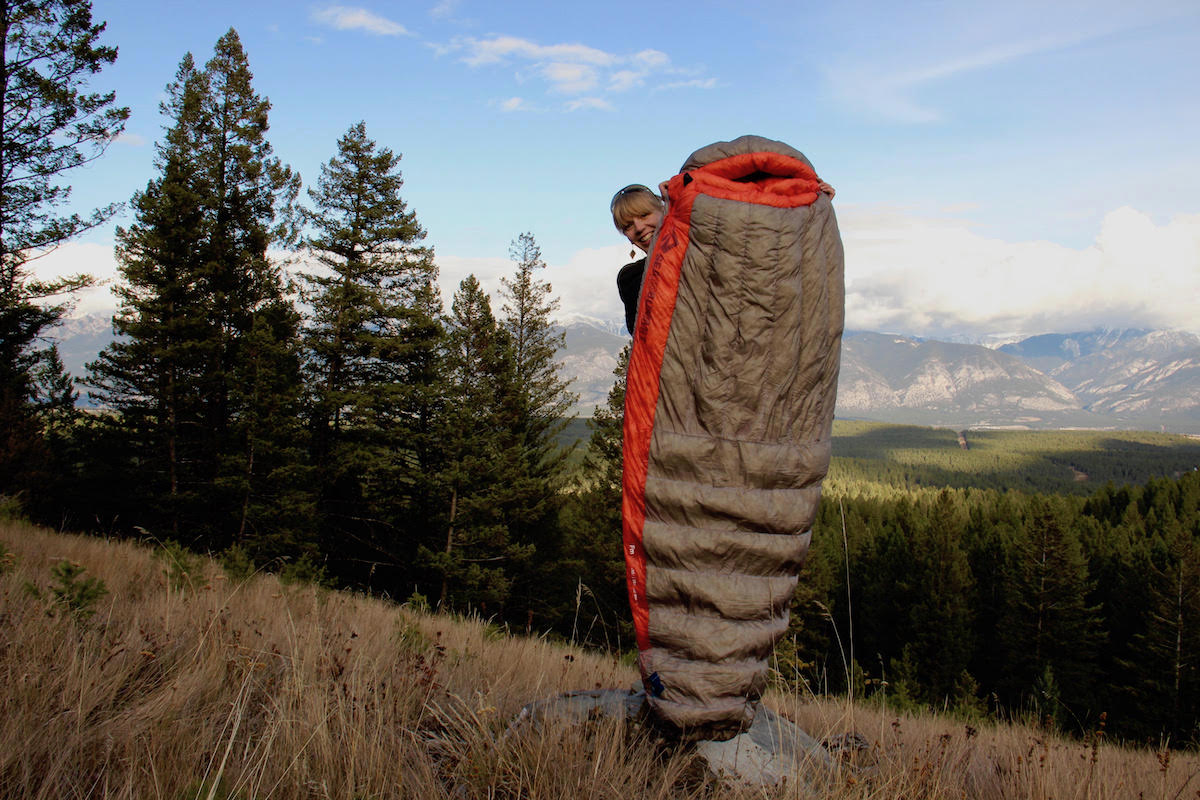 The author posing with the Sea to Summit Flame sleeping bag, which is made specifically for women. [Photo] Katherine Erwin collection