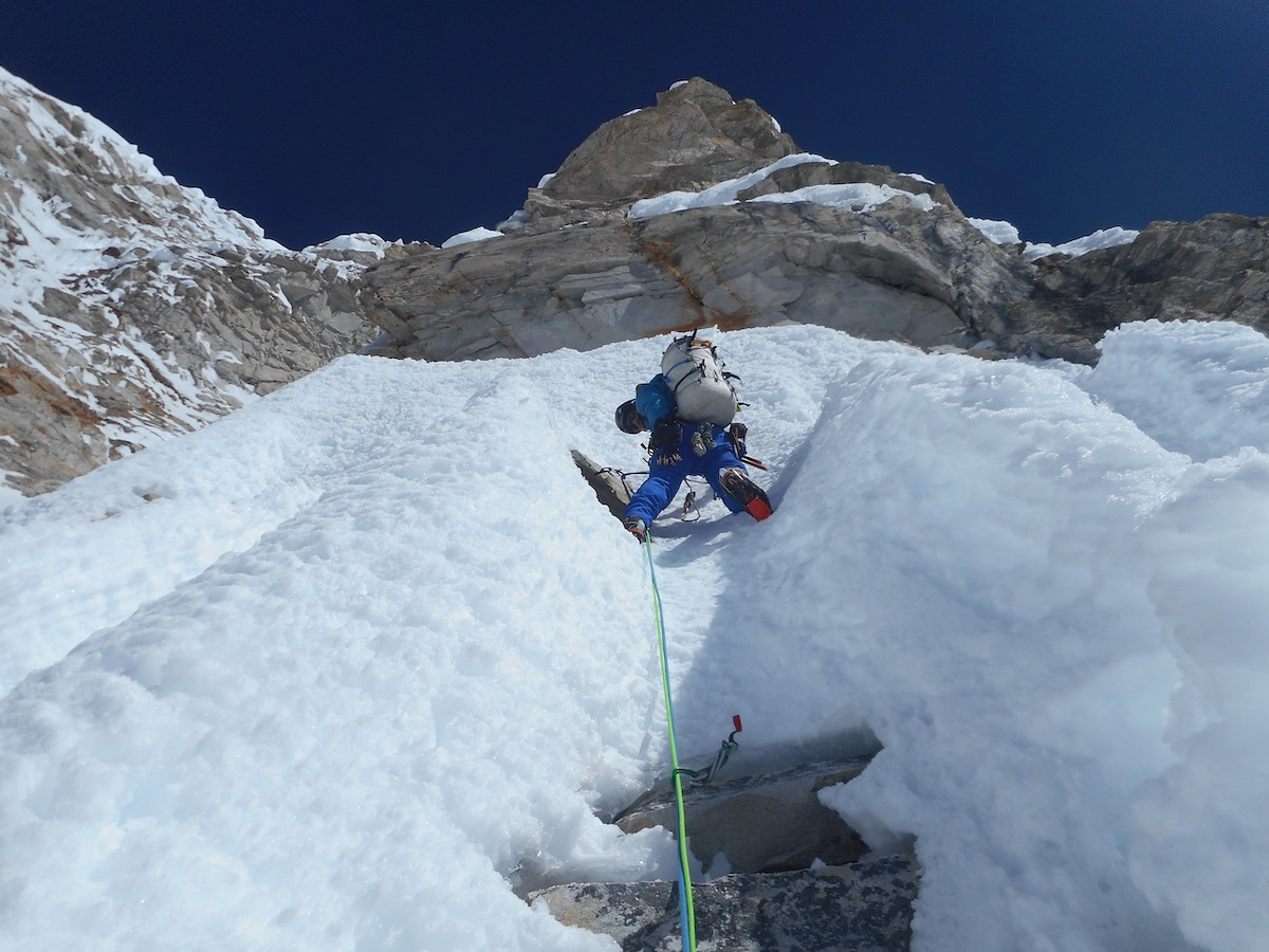 The last pitch of Day 2: Villanueva nearing the bivy site at 6600 meters. [Photo] Alan Rousseau