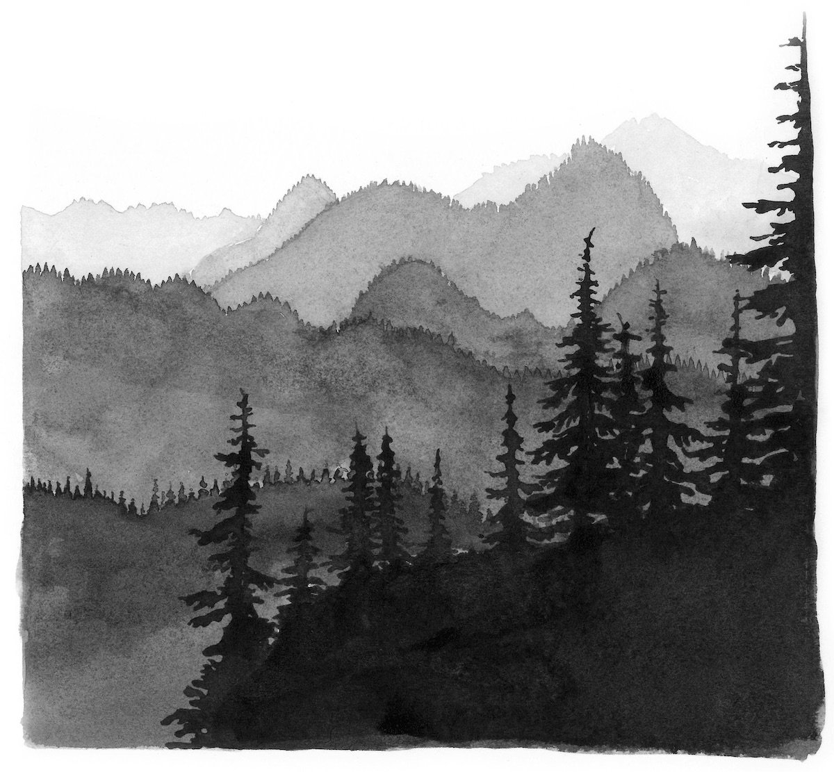 Mountain Range. Justin Gibbens's illustrations appear throughout the book. [Image] Courtesy of Mountaineers Books