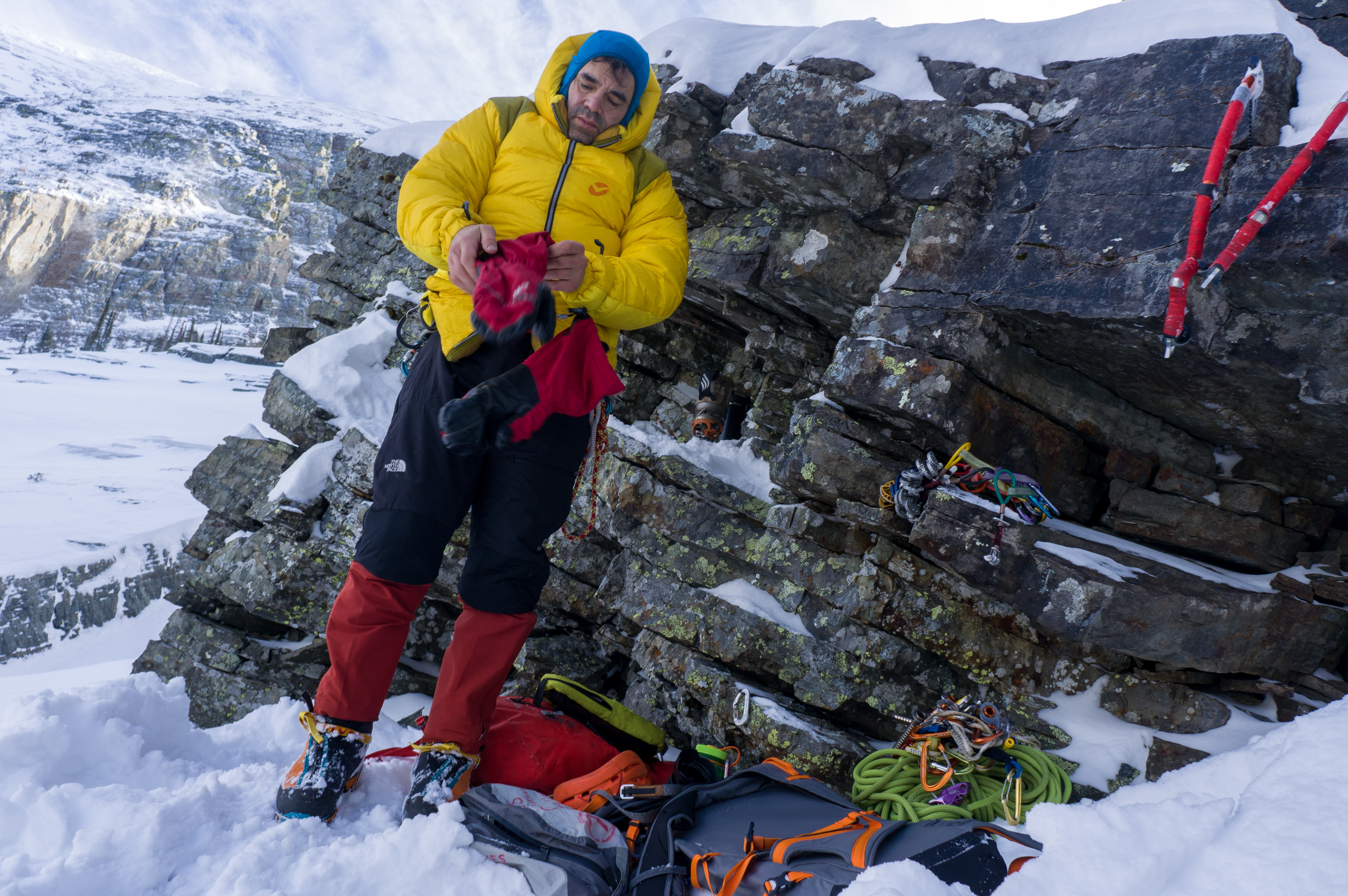 Coldiron racks up for a climb on the Thunderdome above Granite Lake in the Cabinet Mountains. [Photo] Brian White