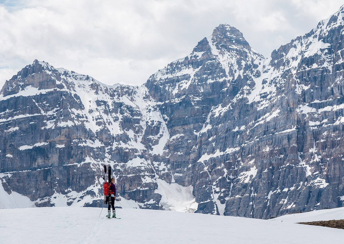Kadatz returns to the parking lot at Moraine Lake beneath the Valley of the Ten Peaks, having recovered her skis. [Photo] Tim Banfield