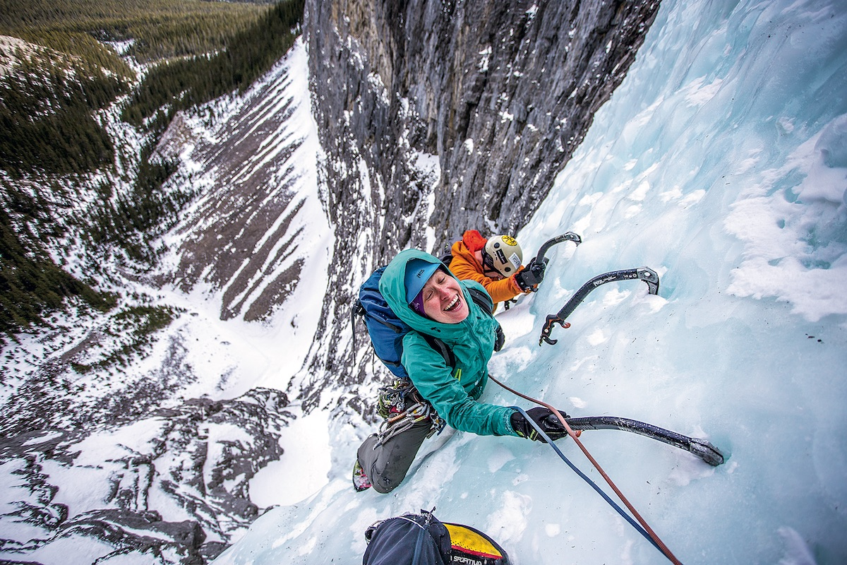 Anna Smith climbs The Sorcerer in Alberta's Ghost Valley with Ian Greant. [Photo] John Price