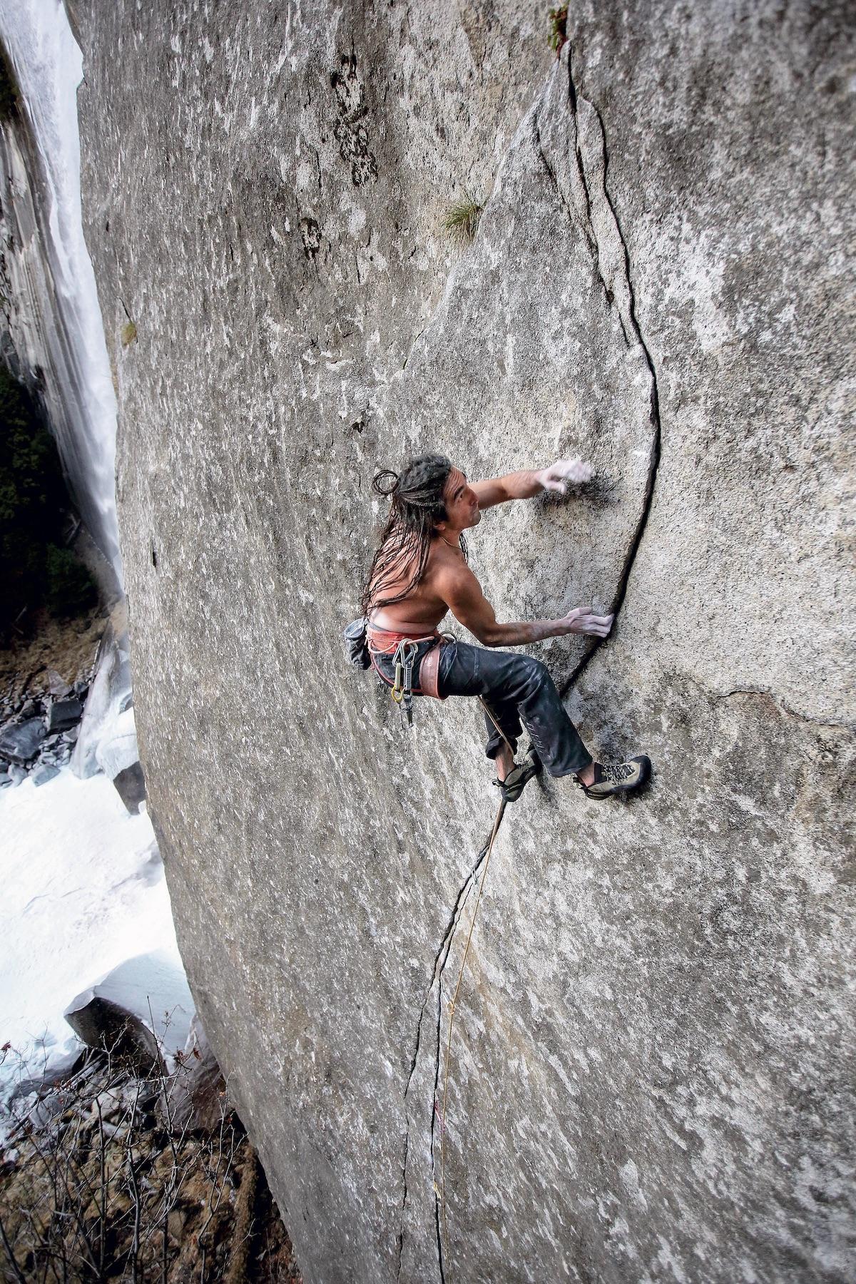 Lonnie Kauk climbs Magic Line (5.14c). [Photo] Jim Thornburg