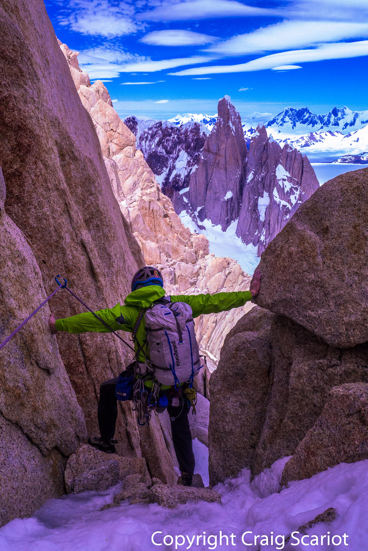 Kelly Cordes climbing Fitz Roy in Patagonia. [Photo] Craig Scariot
