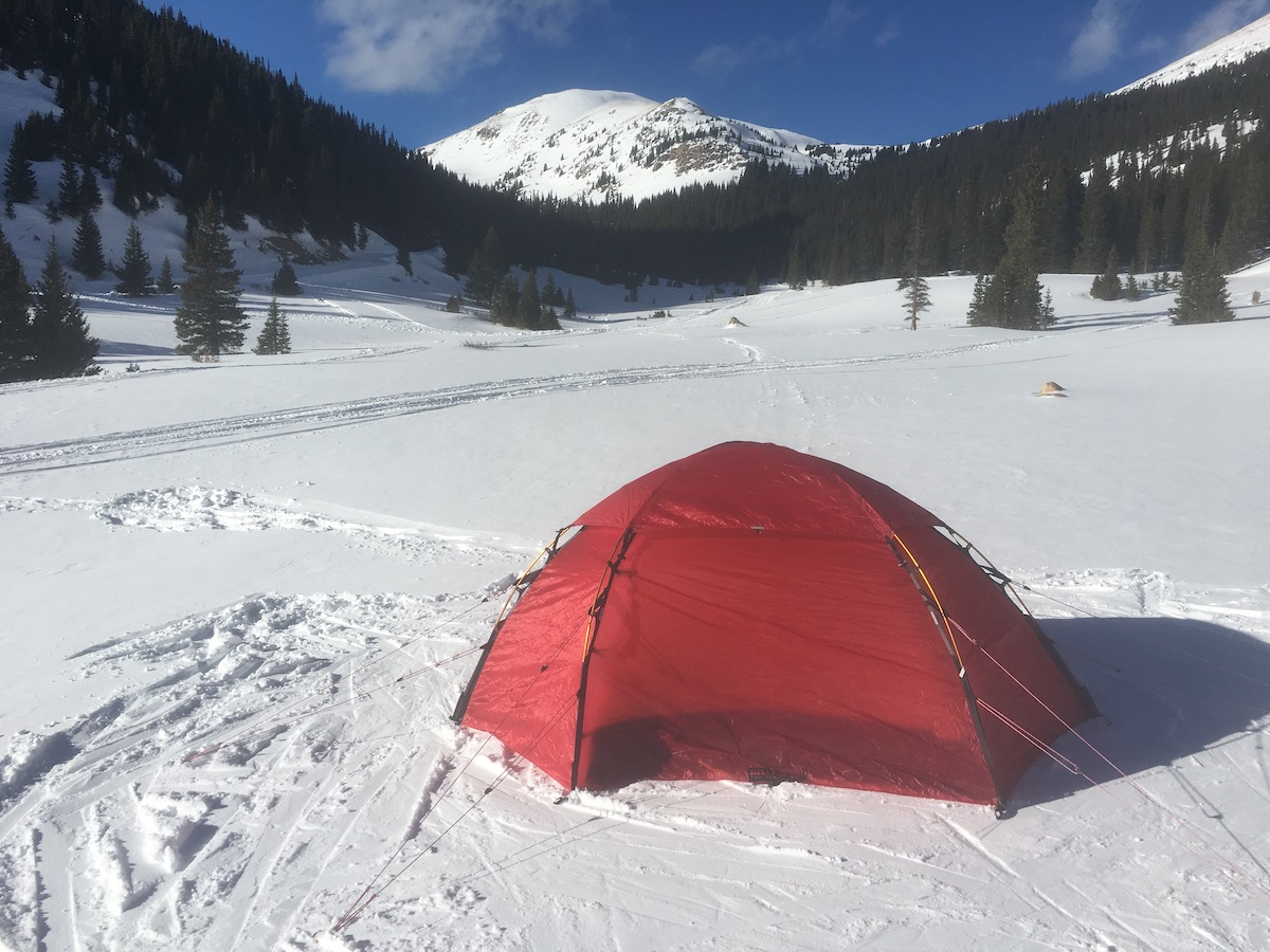 The Allak 3 tent on a windy day near Jones Pass, Colorado. With the guy-lines taut and the canopy affixed, this tent is ready for any storm. [Photo] Drew Thayer