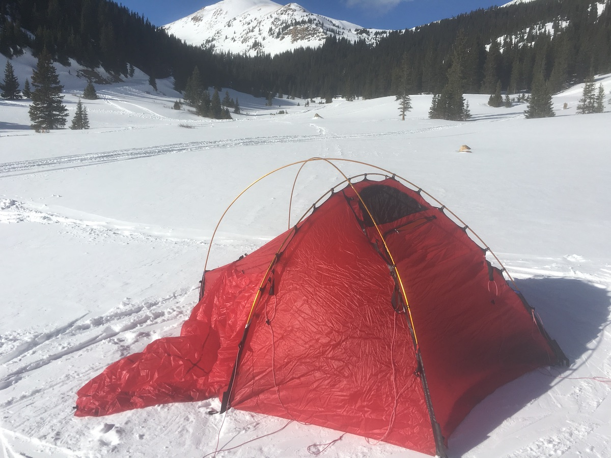 The tent has three poles of equal length, which fit into color-coded sleeves and are then clipped to the upper tent. [Photo] Drew Thayer