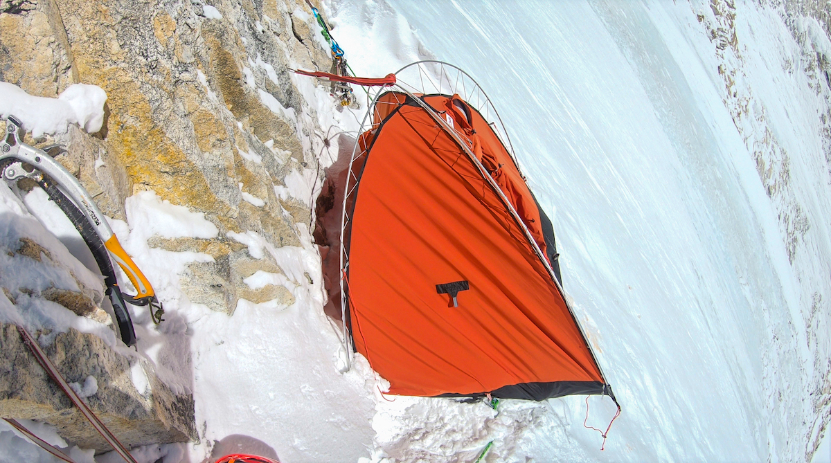 Bivy at around 6300 meters, March 19, where small avalanche during the night broke one of the tent poles. [Photo] Dmitry Golovchenko and Sergey Nilov