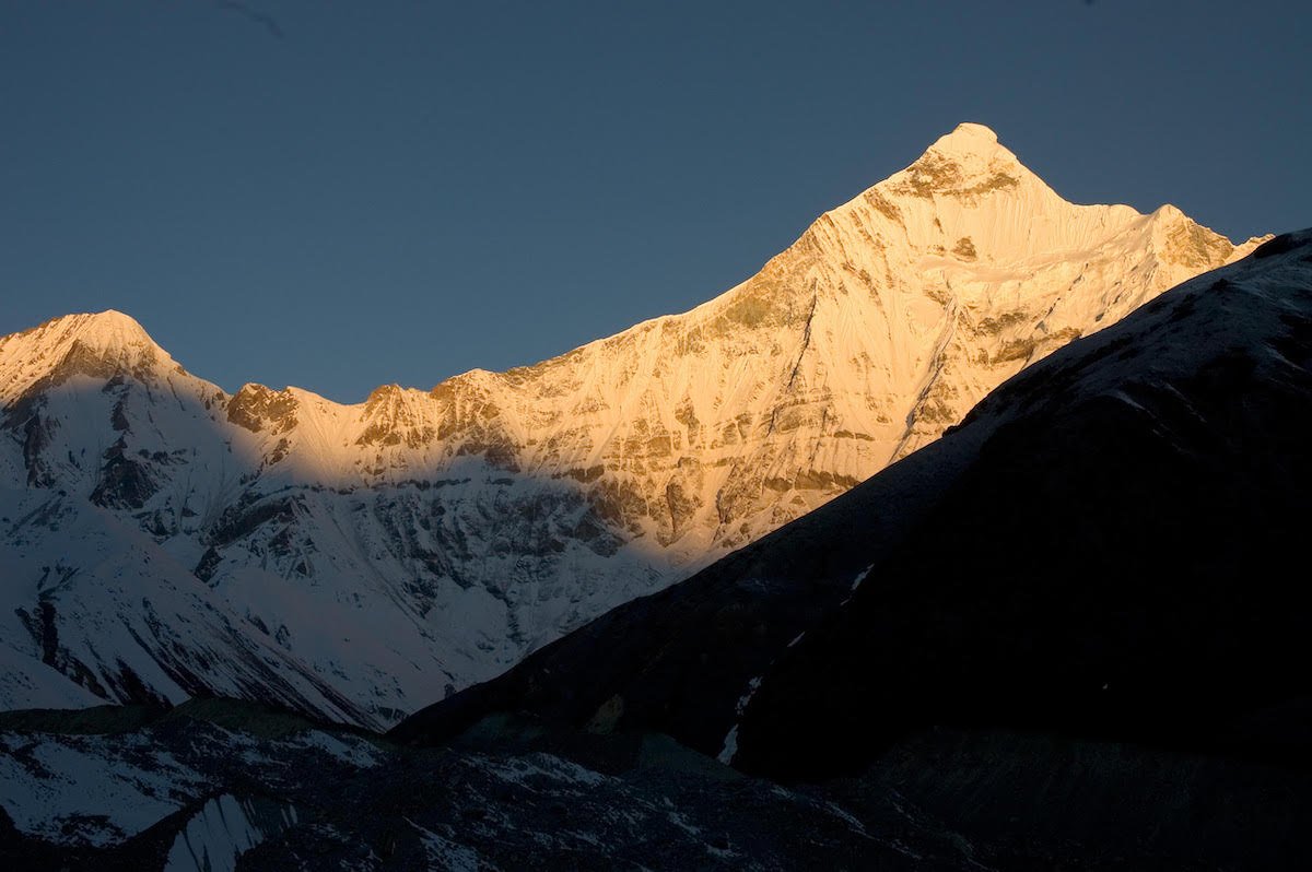 The east face of Nanda Devi East / Sunanda Devi (right) and Peak 6477. [Photo] Pete Takeda
