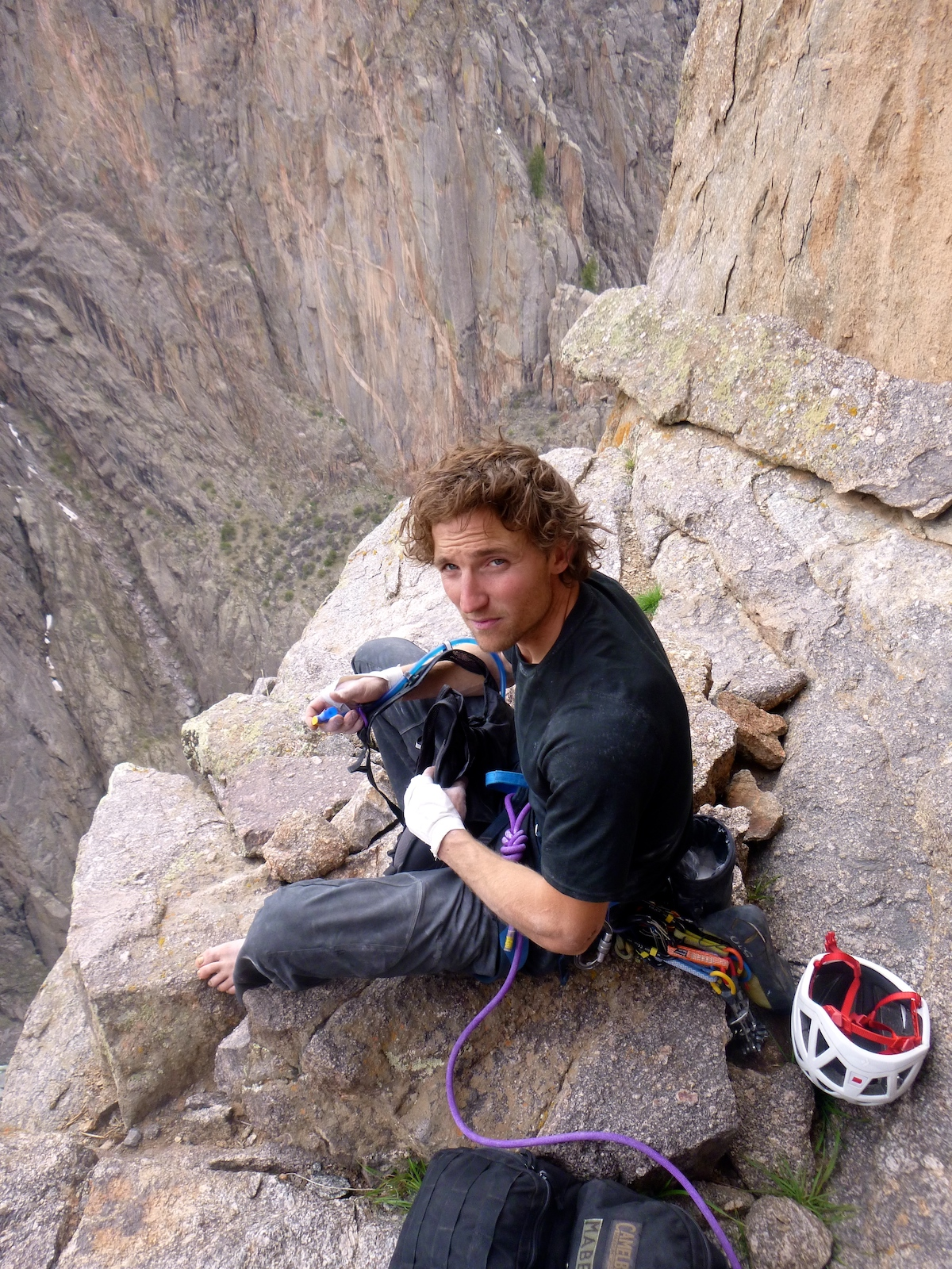 Jack Cody wearing tape gloves in the Black Canyon of the Gunnison, 2014. [Photo] Derek Franz