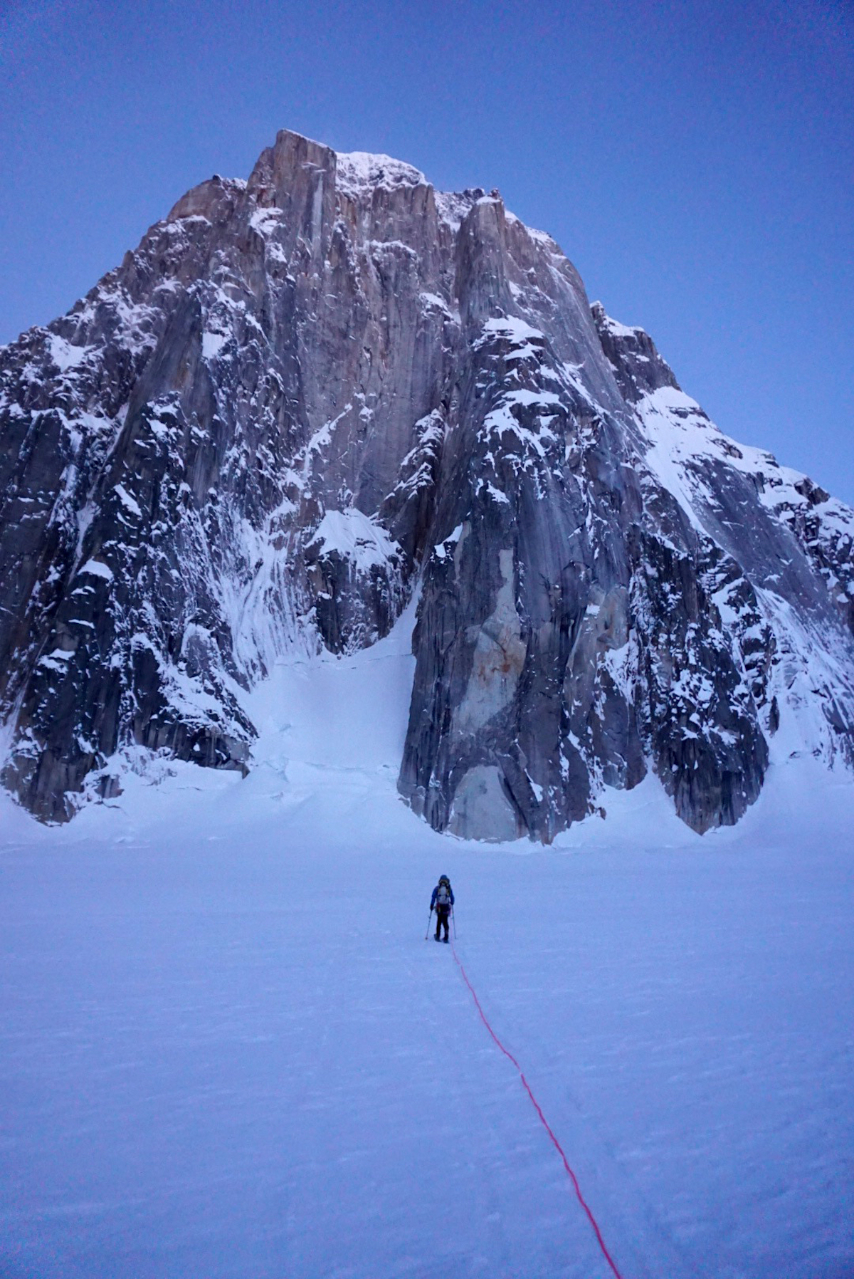 The author approaches the east face of Mt. Dickey on the morning of April 3. [Photo] Jackson Marvell