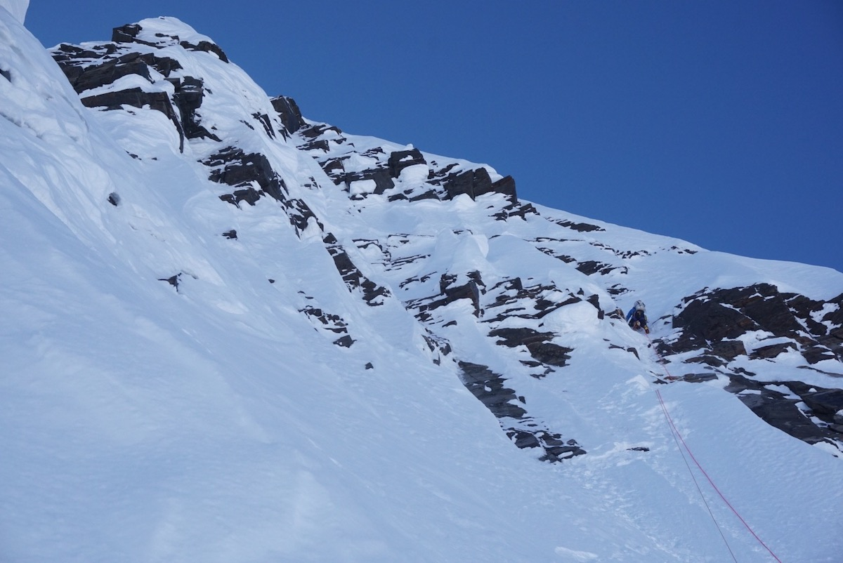 Simulclimbing about 500 feet vertical below the summit. [Photo] Jackson Marvell