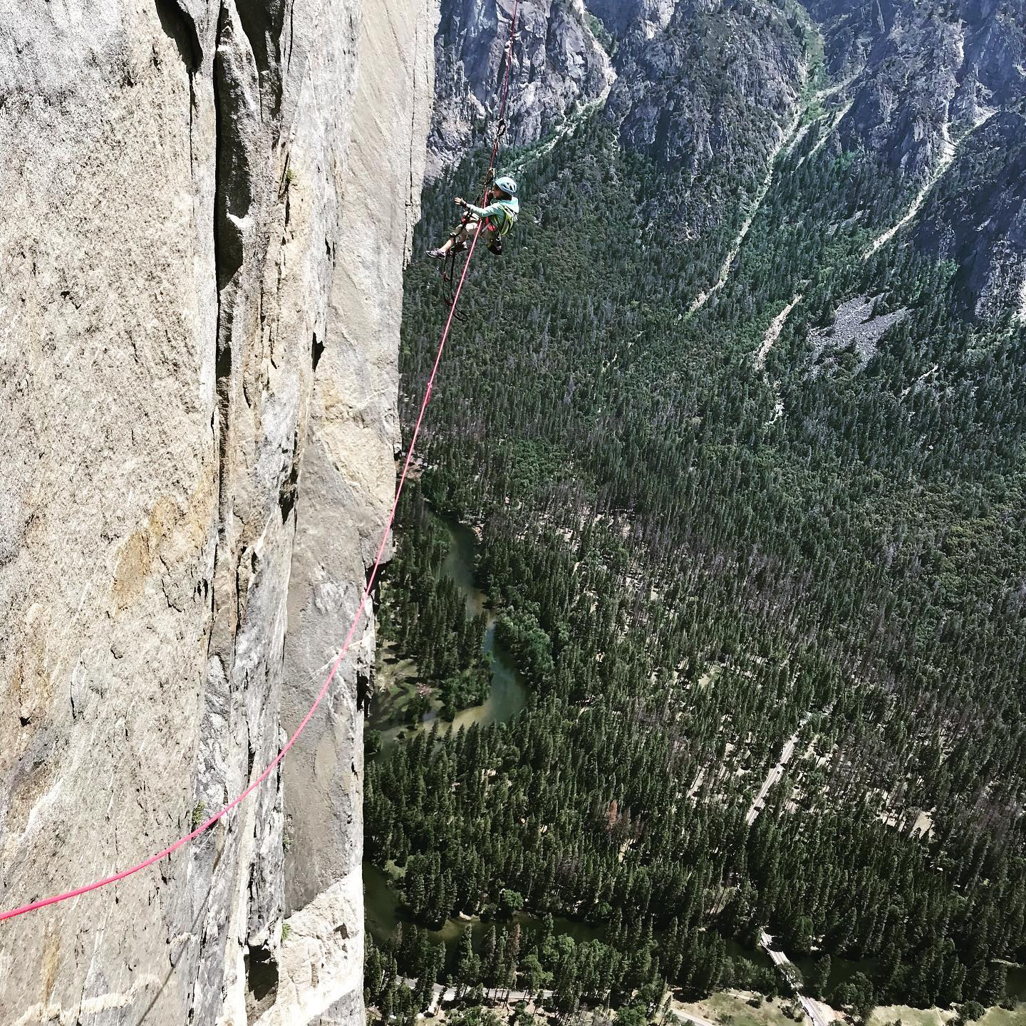 Selah jumaring on the Nose. Her dad estimates that she cleaned 80 percent of the pitches on the route, which freed up the two adults to haul the bag. [Photo] Schneiter family collection