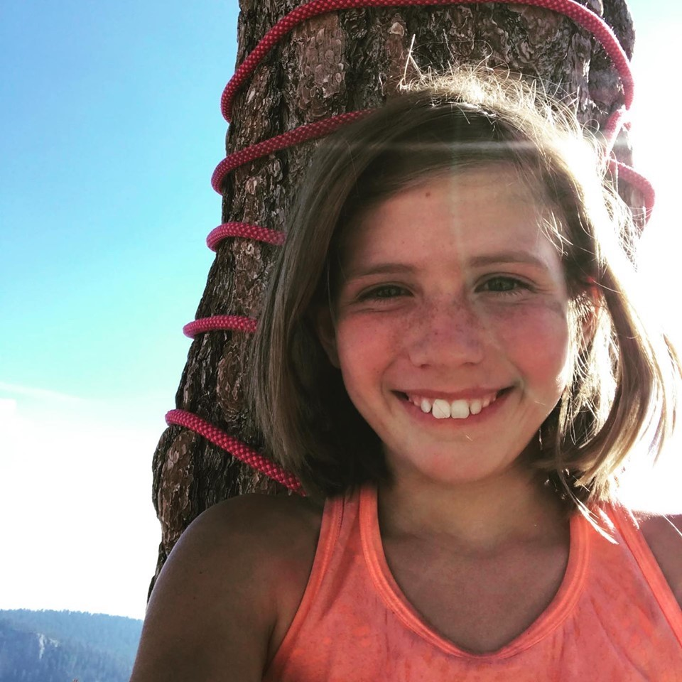 Selah takes a selfie in front of the famous tree on top of the Nose. [Photo] Schneiter family collection