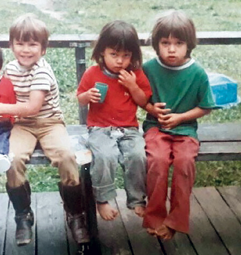 Five-year-old Coldiron with his brother, Darrin (center), and cousin. [Photo] Courtesy Scott Coldiron