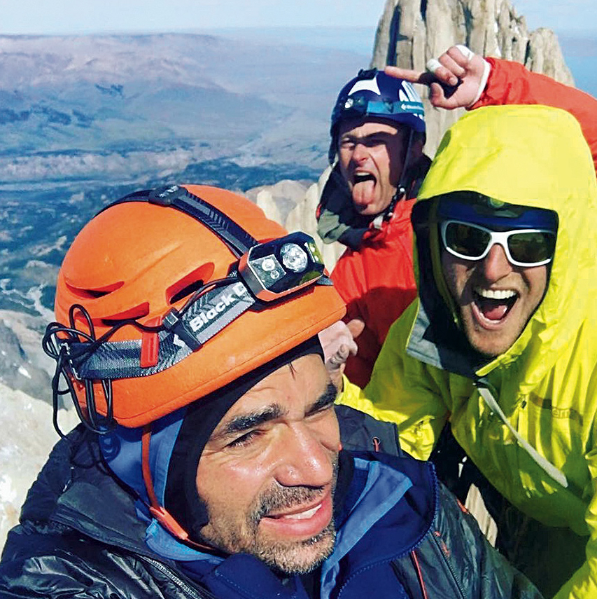Coldiron, Jess Roskelley and Ben Erdmannon Aguja de la Silla during a linkup with Fitz Roy (ca. 3405m) in Patagonia. [Photo] Scott Coldiron